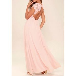 Lulus The Greatest Blush Pink Lace Maxi Dress